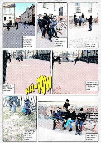"""Englischsprachiger Comic zum Thema """"Tagesablauf"""" (App: Comic Life)"""