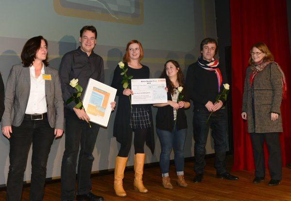 Den Preis nahmen am 19.11.2016 Lisa, Jenny, Martin und Michael beim GMK Forum in Cottbus entgegen. (Foto: GMK/Peter Radke)
